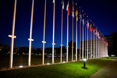 International flags next to european council building in Strasbo — Stok fotoğraf