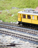 Miniature toy model of modern train — Stock Photo