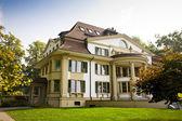 европейский дом с зеленым газоном — Стоковое фото