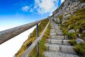 Fotgängare passerar i schweiz berg — Stockfoto