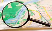 Landkarte durch glas — Stockfoto