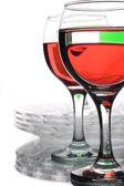 Glassware with multi-coloured liquids — Stock Photo