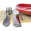 Stock Photo: Plate with knife and fork