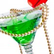 Martini glass with pearl beads — Stock Photo
