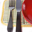 Plate with knife and fork — Stok fotoğraf