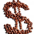 Coffee beans in shape of dollar sign — Foto Stock
