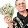 Happy old man holding dollars — Foto de Stock