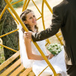 Groom rocking bride on swing — Stock Photo #10370760