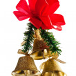 Golden bells with christmas decoration - Stock Photo