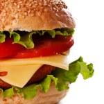Hamburger isolated on white — Stock Photo