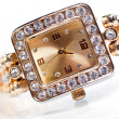 Golden wristwatch with gems — 图库照片