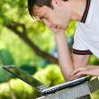 Mwith laptop outdoor portrait — Stock Photo #10371062