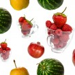 Fresh fruits seamless background — Stock Photo