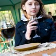 Stock Photo: Cute young woman with wine glass