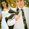 Handsome young groom  portrait — Stock fotografie