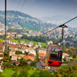 Cable railway and majestic cityscape revealing underneath — Lizenzfreies Foto