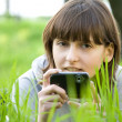 Young woman taking picture with digital camera — Stock Photo #10371503