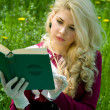 Stock Photo: Beautiful young blond with book in summer park