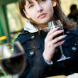 Cute young woman with wine glass — Stock Photo #10371572