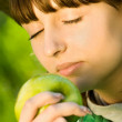 Pretty teenager girl with apple — Stock Photo #10371600