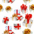 Gift boxes seamless background — Stock Photo