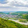 Rhine valley under clouded sky - Stock Photo