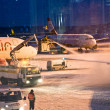 AIRPORT COLOGNE, GERMANY - WINTER 2010: Airport workers defrosti — Stock Photo