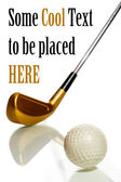Golf ball and club with reflection — Stock Photo