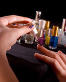 Polishing fingernails — Stock Photo