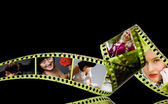 Photographic film 35mm with colorful photos inside — Stock Photo