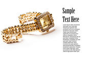 Golden wristwatch with gems — Stockfoto