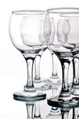 Empty wineglasses with reflection — 图库照片