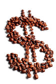Grains de café en forme de signe dollar — Photo
