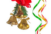Golden bells with christmas decoration — Stock Photo
