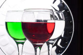 Glasses with multicolored liquids — Stock fotografie