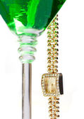 Wrist watch hanging from martini glass — Foto de Stock