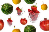 Fresh fruits seamless background — 图库照片