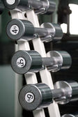 Chrome dumbbells in a row — Stock Photo