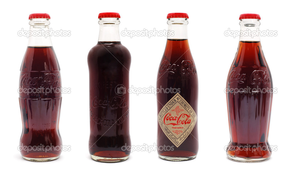 Coca Cola limited edition 125 years anniversary bottles isolated on white  — Stock Photo #8009736