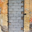 Stock Photo: Bricked up door and chipped brick wall texture