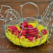 Red easter eggs chicken basket — Stock Photo #10619912