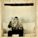 Psychic medium with ectoplasm antique photo — Stock Photo