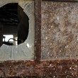 Стоковое фото: Rusty factory door and smashed glass