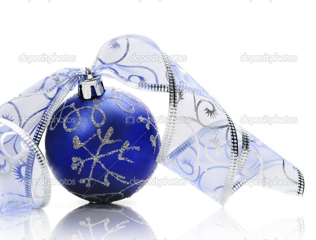 Blue christmas ornament on white background — Stock Photo #8343614