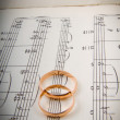 Stock Photo: Wedding rings on notes.music hearts