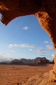 Through a hole in the rock, Wadi Rum — Stock Photo