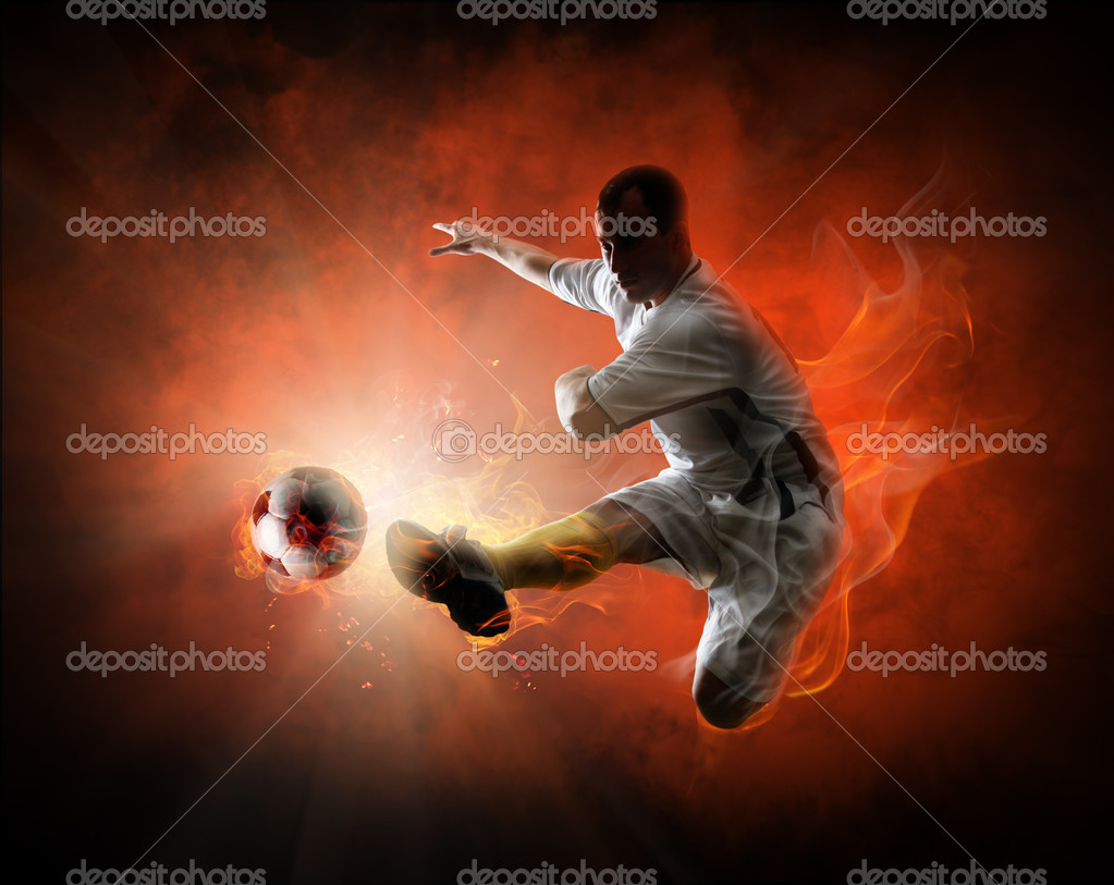 Soccer player kicking the ball — Stock Photo #10455791