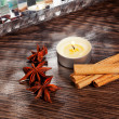 Stock Photo: Cinnamon and anise on table