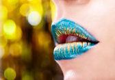 Green lips — Stock Photo