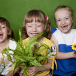 Cheerful children in a kindergarten summer. — Stock Photo